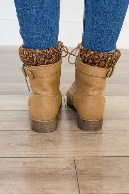 Sweater Detail Ankle Boots - Light Brown