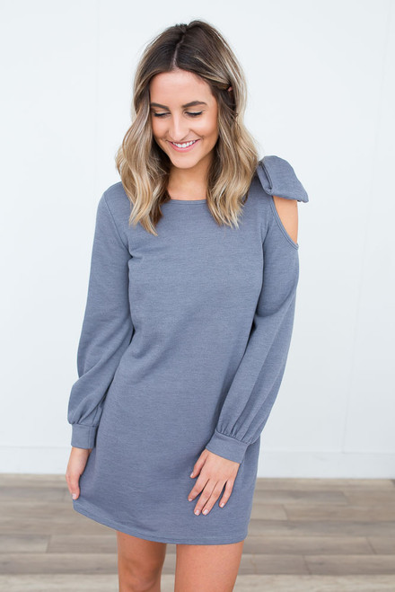 Everly Bow Detail Open Shoulder Dress - Lilac Grey