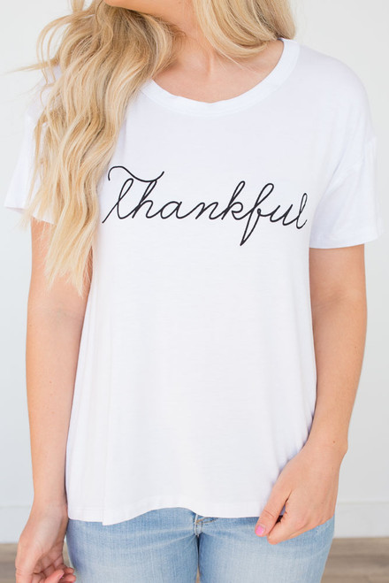 Thankful Graphic Tee - White - FINAL SALE