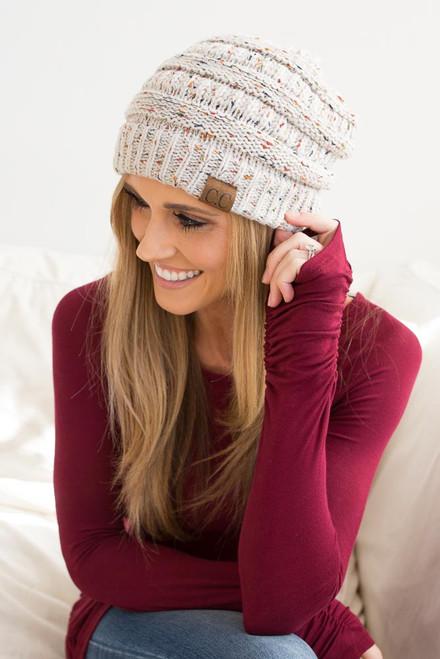 Confetti Knit Beanie - Oatmeal Multi
