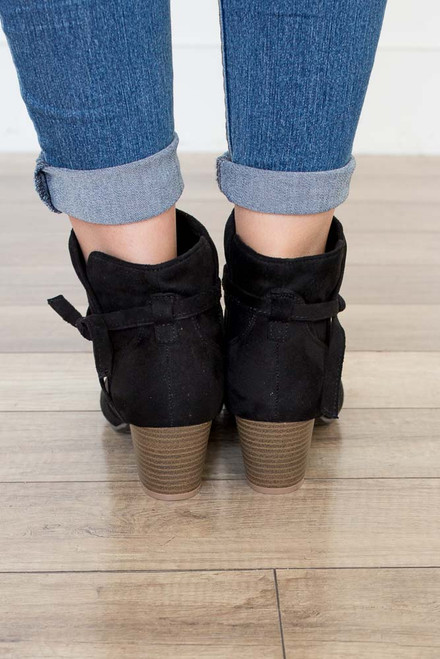 Tie Me Up Suede Booties - Black