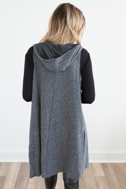 Brushed Hooded Midi Vest - Charcoal