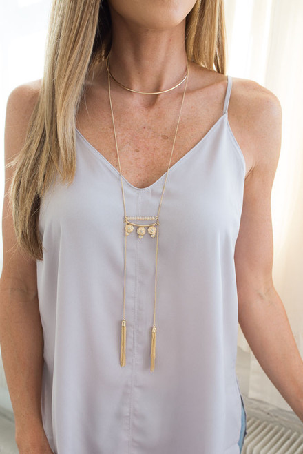 Cleo Tassel Choker Necklace - Gold