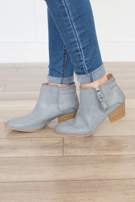 Astoria Zipper Booties - Light Grey
