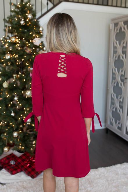 Tie Sleeve Pleated Dress - Burgundy