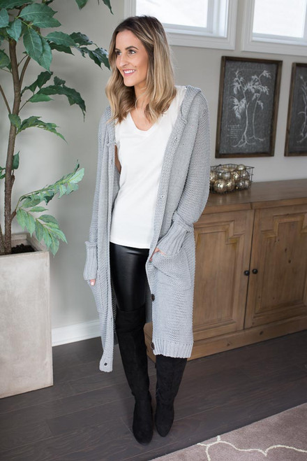 Button Down Hooded Cardigan - Grey