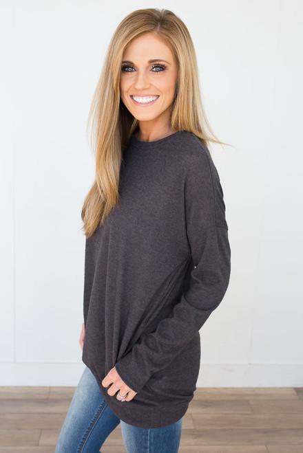 Cozy Knit Pocket Tunic - Charcoal