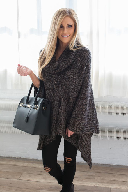 Faux Leather Structured Handbag - Black