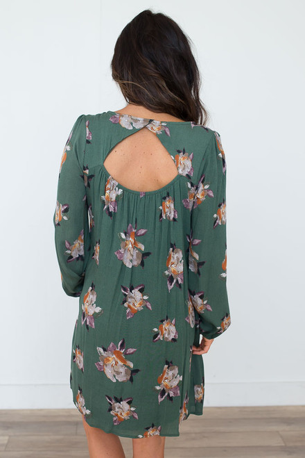 Floral Keyhole Back Dress - Meadow Green