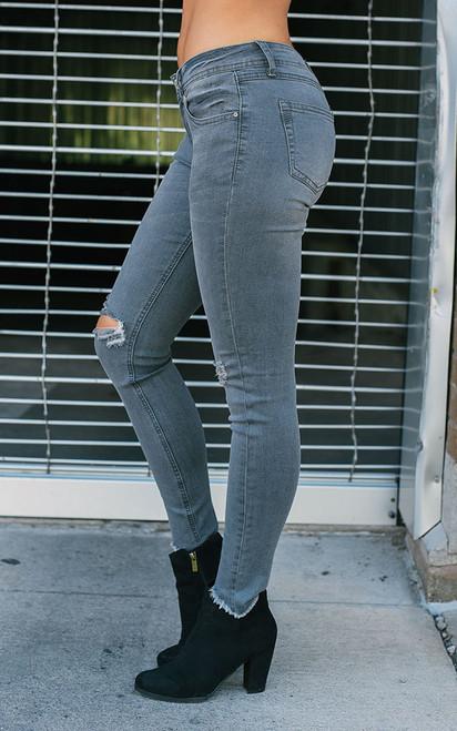 Distressed Skinny Jeans - Warm Grey