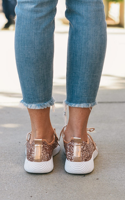 Glitter Sneakers - Rose Gold
