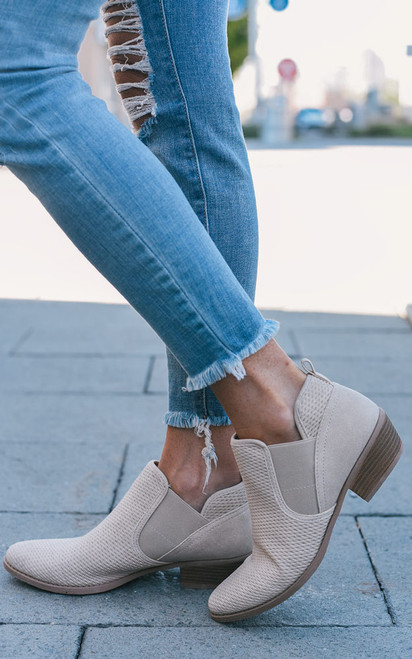 Embossed Ankle Booties - Stone - FINAL SALE