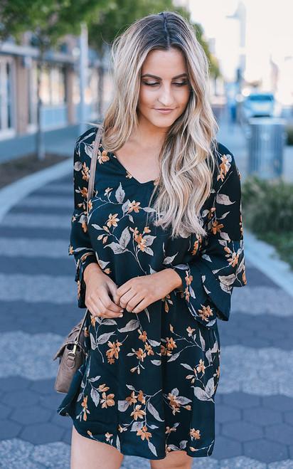 Floral Ruffle Sleeve Satin Dress - Black - FINAL SALE