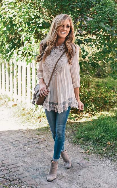 Crochet & Lace Detail Blouse - Beige