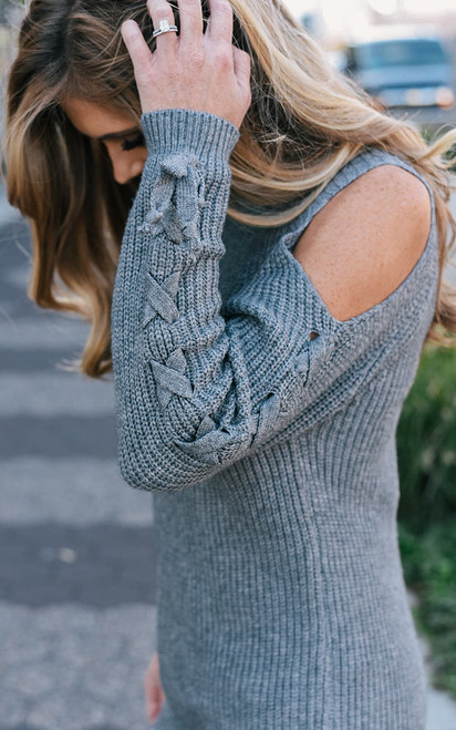 Cold Shoulder Lace Up Sweater - Grey