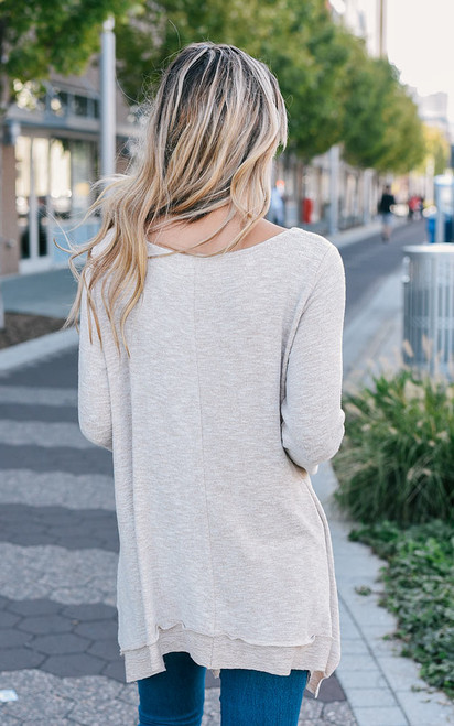 Marbled Seam Detail Top - Taupe