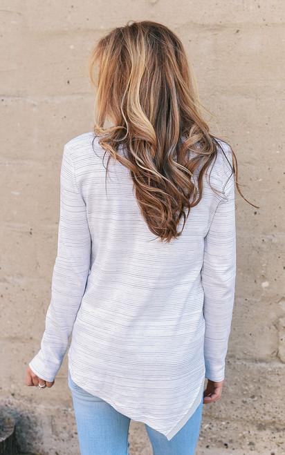 Layered Striped V-Neck Top - White Multi