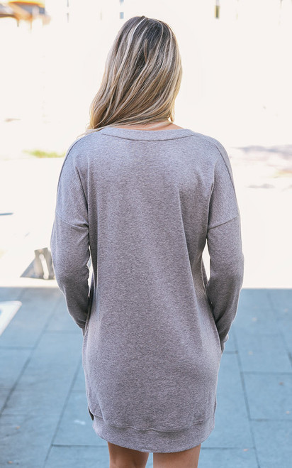 V-Neck Sweater Tunic Dress - Heather Mocha
