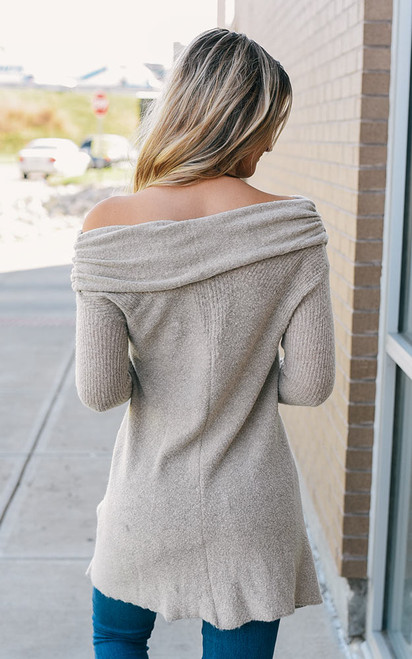Off the Shoulder Soft Sweater - Oatmeal
