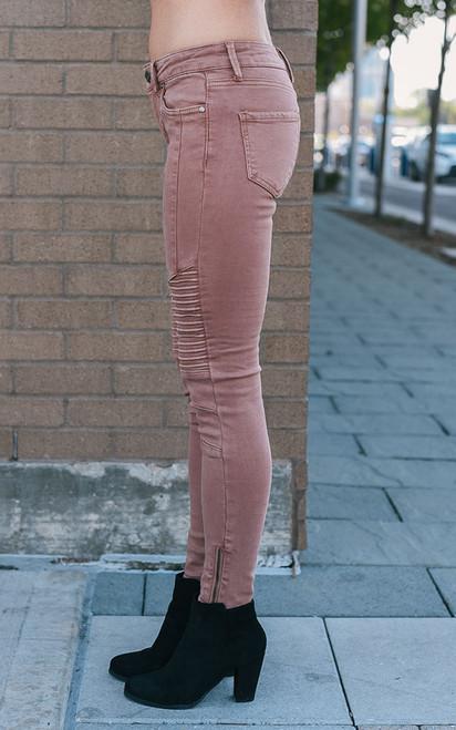 Zipper Detail Moto Pants - Dusty Rose
