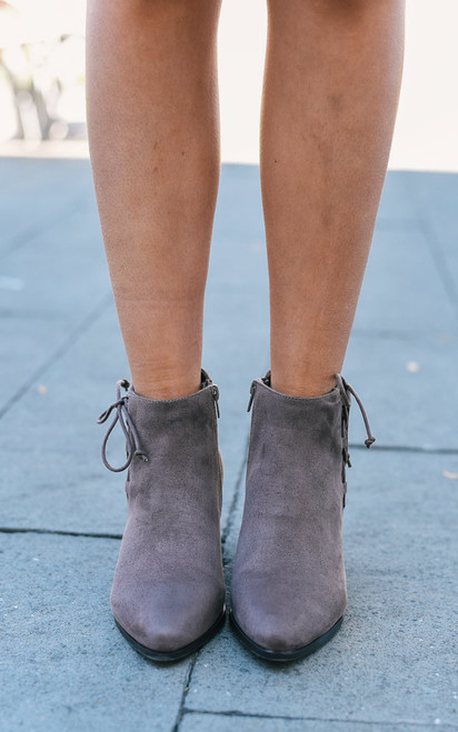 Lace Up Detail Booties - Taupe