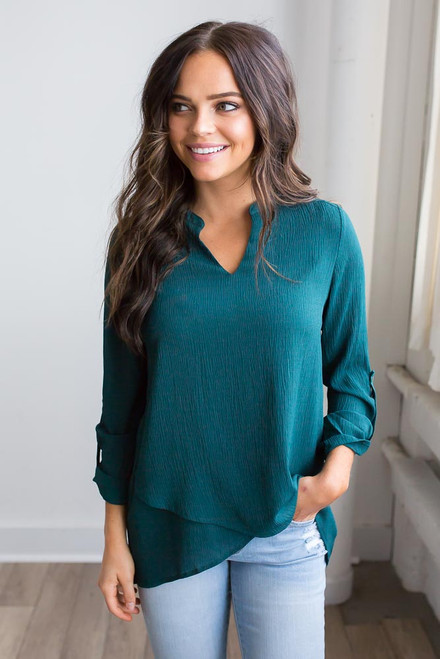 Textured Layered Blouse - Teal