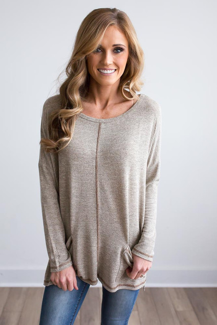 Contrast Stitch Tunic - Heather Taupe