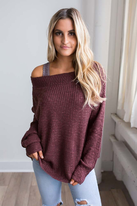 Off the Shoulder Ribbed Sweater - Maroon
