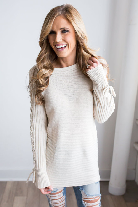 Lace Up Boatneck Sweater – Cream