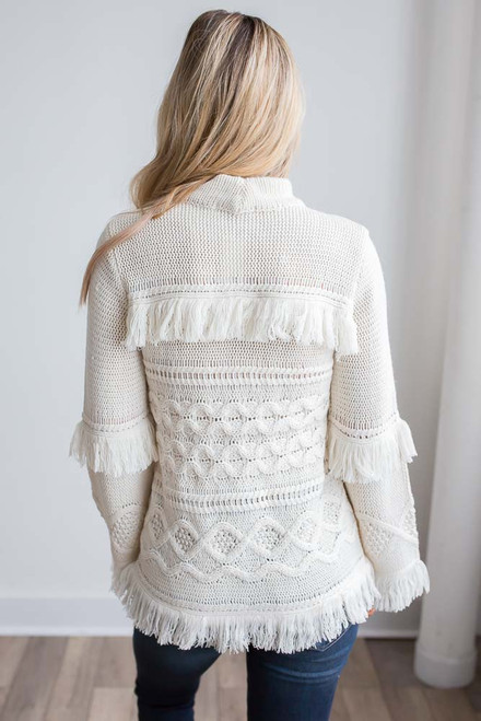 BB Dakota Baker Fringe Sweater - Ivory