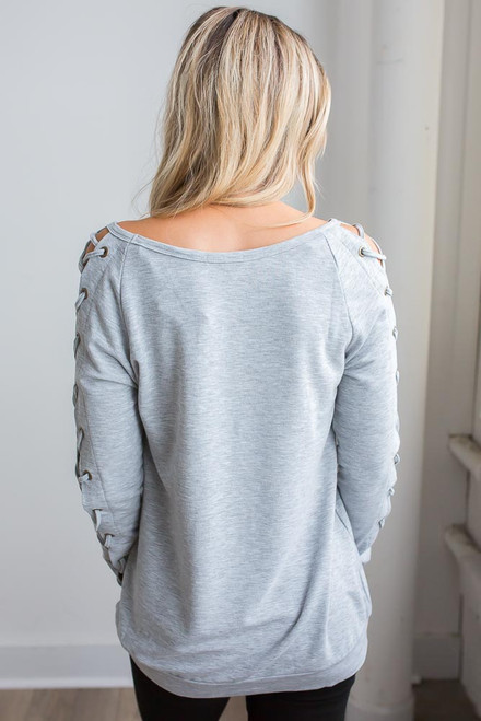 Lace Up Long Sleeve Top - Heather Grey