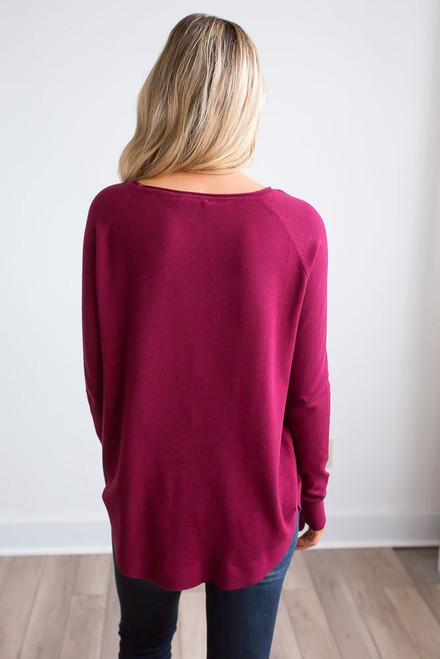 Lightweight Boatneck Sweater - Burgundy