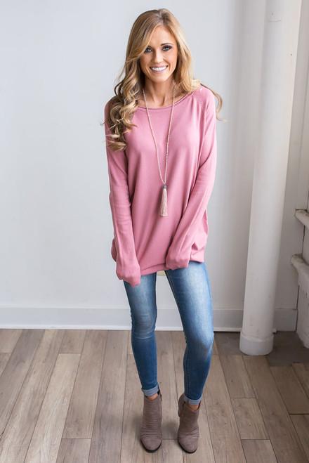 Lightweight Boatneck Sweater - Dusty Rose