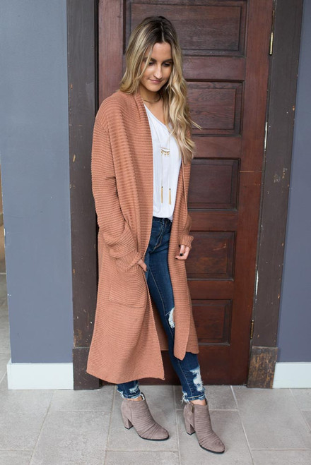 Ribbed Long Pocket Cardigan - Cinnamon