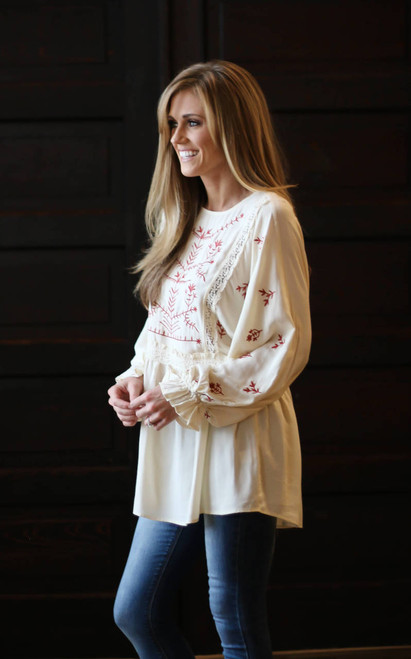 Embroidered Peasant Sleeve Blouse - Ivory