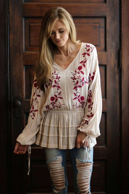 Embroidered Ruffle Peplum Blouse - Natural