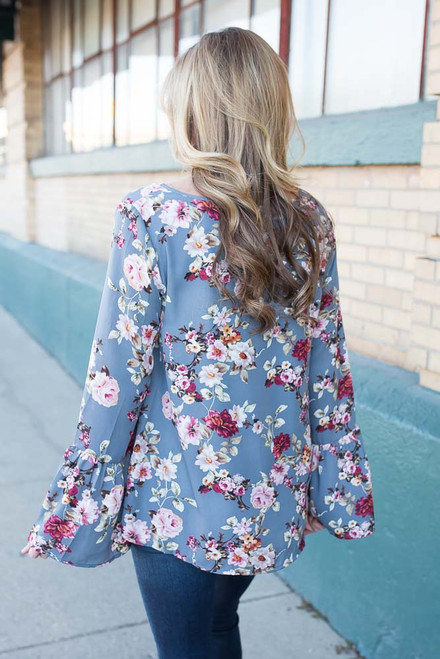 Floral Bell Sleeve Blouse - Grey Multi