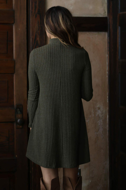 Mock Neck Ribbed Dress - Olive