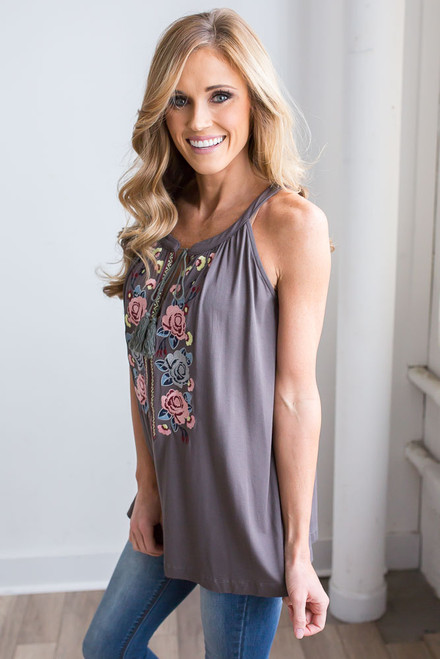 Sleeveless Embroidered Tassel Top - Charcoal