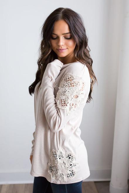 Crochet Detail Top - Heather Beige