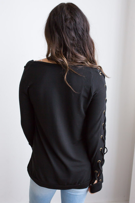 Lace Up Long Sleeve Top - Black
