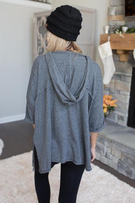 Hooded Side Tie Tunic - Dark Grey