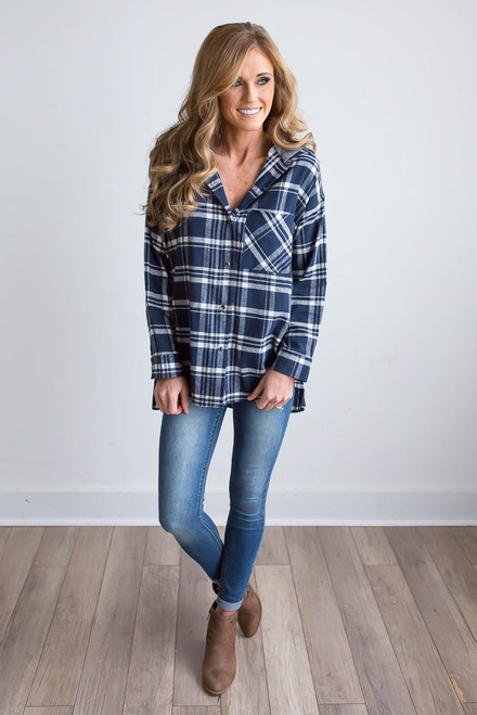 Hooded Plaid Top - Navy/White