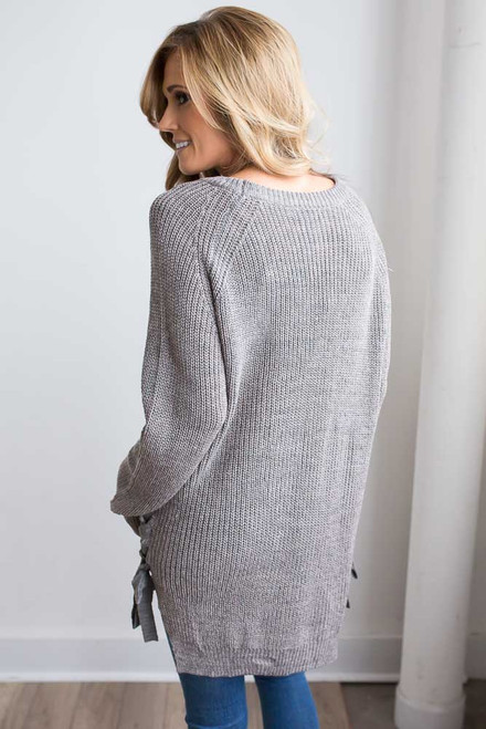 Lace Up Detail Sweater - Grey Multi