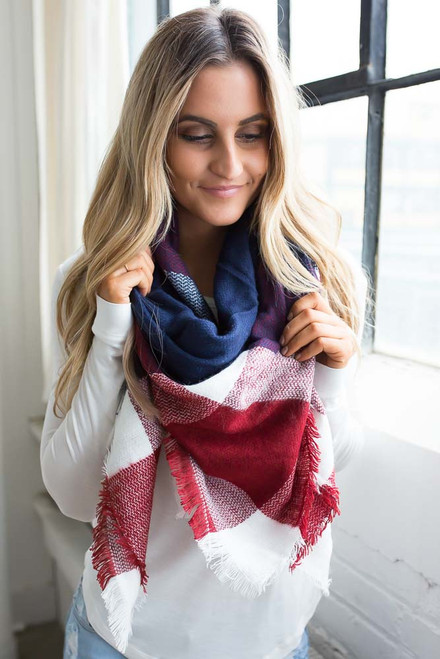 Plaid Blanket Scarf - Navy/Rust/White