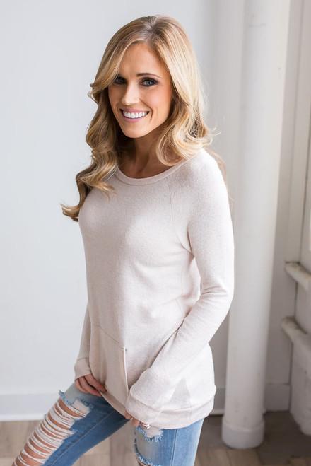 Soft Brushed Pocket Pullover - Heather Oatmeal