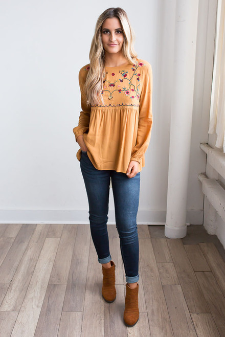 Floral Embroidered Blouse - Vintage Honey