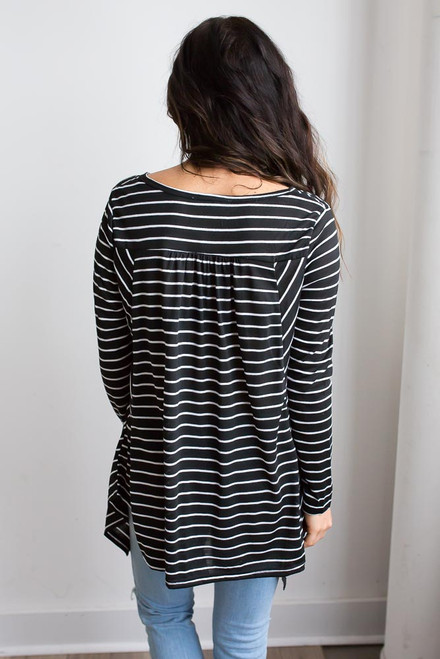 Asymmetrical Striped Top - Black/White