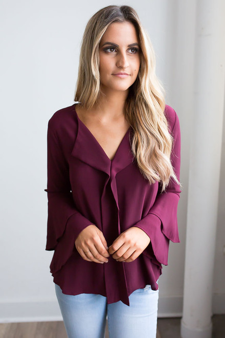 Double Ruffle Sleeve Blouse - Wine