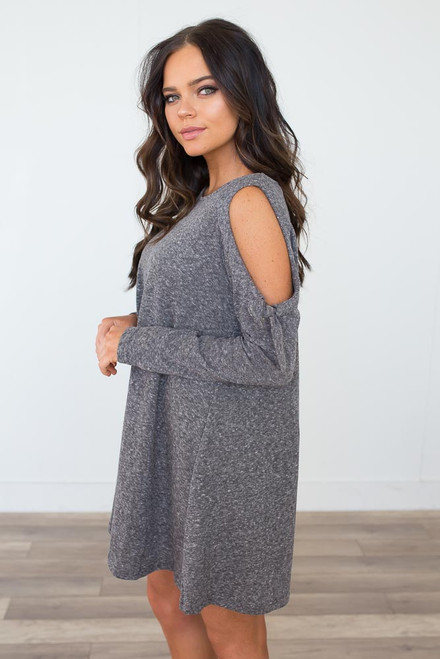 Cold Shoulder Tie Tunic - Heather Grey
